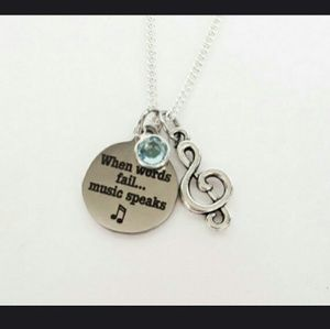 Jewelry - Music Note Clef Crystal Charm Inspiration Necklace